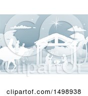 Clipart Of A Paper Art Styled Nativity Scene With The Wise Men And Manger Royalty Free Vector Illustration by AtStockIllustration
