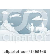Clipart Of A Paper Art Styled Silhouetted Scene Of Mary And Joseph On Their Jouney Royalty Free Vector Illustration by AtStockIllustration