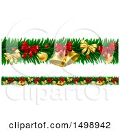 Poster, Art Print Of Christmas Garlands With Bells Bauble Ornaments And Bows