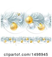Frozen Christmas Garlands With Silver And Gold Bauble Ornaments