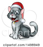 Clipart Of A Happy Gray Cat Wearing A Christmas Santa Hat Royalty Free Vector Illustration