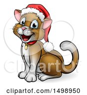 Clipart Of A Happy Brown Cat Wearing A Christmas Santa Hat Sitting And Facing Left Royalty Free Vector Illustration