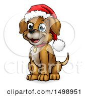 Clipart Of A Cartoon Happy Sitting Puppy Dog Wearing A Santa Hat Royalty Free Vector Illustration