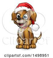 Cartoon Happy Sitting Puppy Dog Wearing A Santa Hat