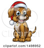 Clipart Of A Cartoon Happy Sitting Christmas Puppy Dog Wearing A Santa Hat Royalty Free Vector Illustration