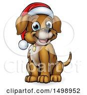 Cartoon Happy Sitting Christmas Puppy Dog Wearing A Santa Hat