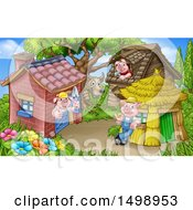 Clipart Of A Wolf And Piggies From The Three Little Pigs Fairy Tale At Their Brick Wood And Straw Houses Royalty Free Vector Illustration