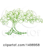 Clipart Of A Gradient Green Tree With Leaves Royalty Free Vector Illustration