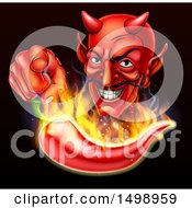 Clipart Of A Grinning Devil Pointing Over A Flaming Hot Chili Pepper On Black Royalty Free Vector Illustration by AtStockIllustration