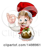 Clipart Of A Happy White Male Chef Gesturing Ok And Holding A Christmas Pudding Royalty Free Vector Illustration by AtStockIllustration