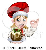 Clipart Of A Happy White Female Chef Gesturing Ok And Holding A Christmas Pudding Royalty Free Vector Illustration by AtStockIllustration