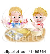 Clipart Of A Cartoon Happy Girl And Boy Making Pink Frosting And Star Shaped Cookies Royalty Free Vector Illustration by AtStockIllustration