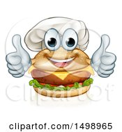 Happy Cheeseburger Chef Character Giving Two Thumbs Up