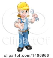 Clipart Of A Full Length Happy White Female Mechanic Wearing A Hard Hat Holding Up A Wrench And Giving A Thumb Up Royalty Free Vector Illustration by AtStockIllustration