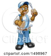 Clipart Of A Cartoon Full Length Happy Black Male Handyman Holding A Screwdriver And Giving A Thumb Up Royalty Free Vector Illustration by AtStockIllustration