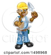 Clipart Of A Full Length Black Male Mason Worker Holding A Trowel And Giving A Thumb Up Royalty Free Vector Illustration by AtStockIllustration