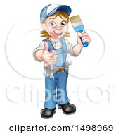 Clipart Of A Cartoon Full Length Happy White Female Painter Holding Up A Brush And Thumb Royalty Free Vector Illustration by AtStockIllustration