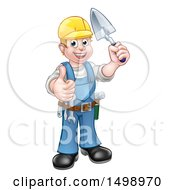 Clipart Of A White Male Mason Worker Holding A Trowel And Giving A Thumb Up Royalty Free Vector Illustration