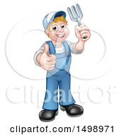 Clipart Of A Full Length White Male Gardener Holding A Garden Fork And Giving A Thumb Up Royalty Free Vector Illustration by AtStockIllustration