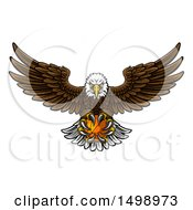 Clipart Of A Cartoon Swooping American Bald Eagle With A Basketball In His Talons Royalty Free Vector Illustration