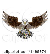 Clipart Of A Cartoon Swooping American Bald Eagle With A Video Game Controller In Its Claws Royalty Free Vector Illustration