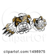 Clipart Of A Tough Bulldog Monster Shredding Through A Wall With A Soccer Ball In One Hand Royalty Free Vector Illustration