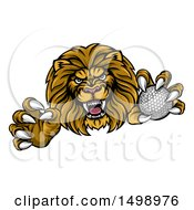 Clipart Of A Tough Clawed Male Lion Monster Mascot Holding A Golf Ball Royalty Free Vector Illustration