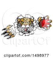 Clipart Of A Vicious Wildcat Mascot Shredding Through A Wall With A Cricket Ball Royalty Free Vector Illustration by AtStockIllustration