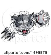 Clipart Of A Ferocious Gray Wolf Slashing Through A Wall With A Baseball Royalty Free Vector Illustration