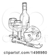 Clipart Of A Sketched Cheese Wedge With A Wine Bottle And Glasses Royalty Free Vector Illustration by AtStockIllustration