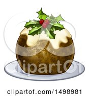 Clipart Of A 3d Christmas Pudding Cake With Holly And Berries On A White Plate Royalty Free Vector Illustration by AtStockIllustration