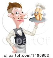 White Male Waiter With A Curling Mustache Holding A Hot Dog On A Platter