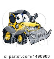 Clipart Of A Bulldozer Digger Mascot Character Royalty Free Vector Illustration by AtStockIllustration