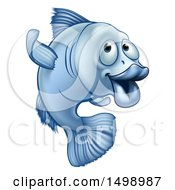 Clipart Of A Cartoon Blue Fish Gesturing To Follow Royalty Free Vector Illustration