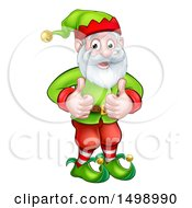 Clipart Of A Happy Garden Gnome Or Christmas Elf Giving Two Thumbs Up Royalty Free Vector Illustration by AtStockIllustration