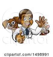 Cartoon Happy Black Male Veterinarian Giving A Thumb Up With A Dog And Cat Over A Sign