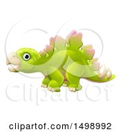 Clipart Of A Green Stegosaur Dinosaur Royalty Free Vector Illustration by AtStockIllustration