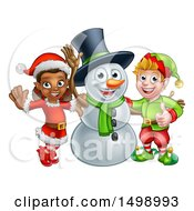 Clipart Of A Snowman Waving With Two Christmas Elves Royalty Free Vector Illustration by AtStockIllustration
