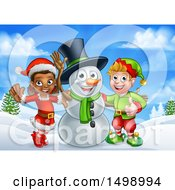 Clipart Of A Snowman Waving With Two Christmas Elves In A Winter Landscape Royalty Free Vector Illustration by AtStockIllustration