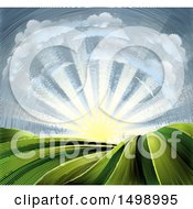 Clipart Of A Woodcut Cloud And Sunrise Sky Over Farmland Royalty Free Vector Illustration