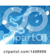 Clipart Of A Blue Electric Lightning Through A Honecomb Hexagonal Background Royalty Free Vector Illustration