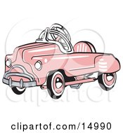 Pink Metal Pedal Convertible Toy Car Clipart Illustration by Andy Nortnik