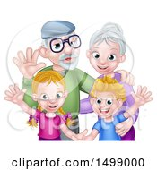 Clipart Of A Happy Caucasian Senior Granny And Grandpa With Their Grandchildren Royalty Free Vector Illustration