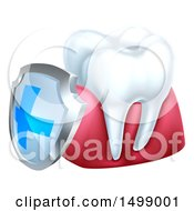 Clipart Of A 3d White Tooth And Gums With A Blue And Silver Protective Dental Shield Royalty Free Vector Illustration