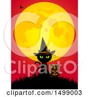 Clipart Of A Witch Cat With A Lantern Under A Full Moon Royalty Free Vector Illustration