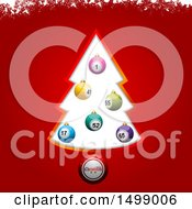 Christmas Tree Frame Decorated With Bingo Or Lottery Ball Baubles On Red