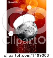 Merry Christmas Greeting And Disco Ball Wearing A Santa Hat