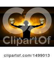 Silhouetted Male Dj Holding Disco Balls Over A Gold Burst