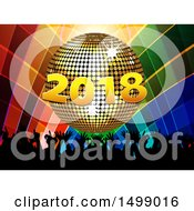 Golden 2018 New Year Disco Ball And Silhouetted Audience Over Colorful Squares