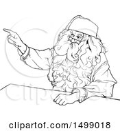 Clipart Of A Black And White Santa Sitting At A Desk And Pointing Royalty Free Vector Illustration by dero